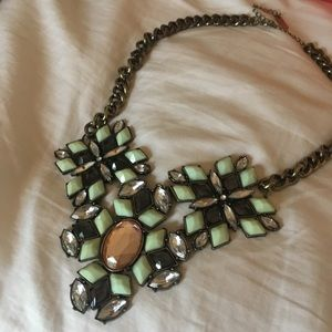 Green and peach-toned statement necklace